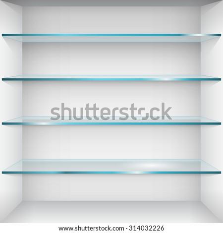 Empty glass shelves on wall. Vector Illustration - stock vector