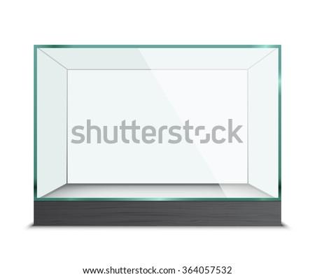 Empty glass showcase for exhibit isolated - stock vector
