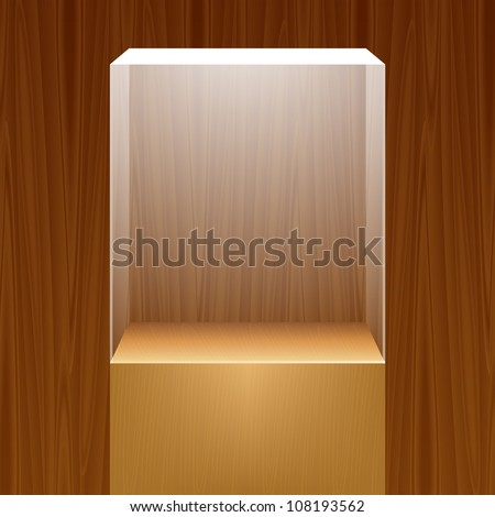 Empty glass showcase for exhibit on wooden background. Vector illustration. - stock vector