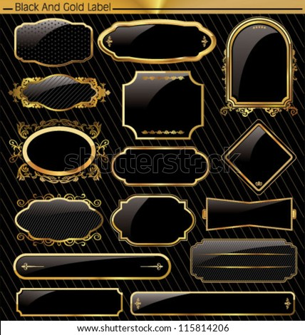 Empty gold and black label - stock vector
