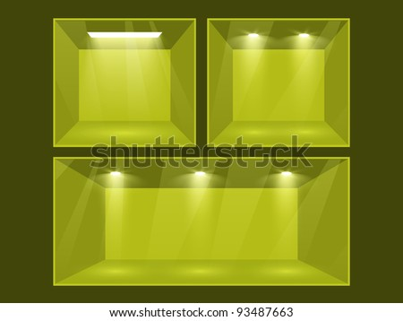 Empty green room set illuminated by searchlights. Part of set. Vector interior. - stock vector