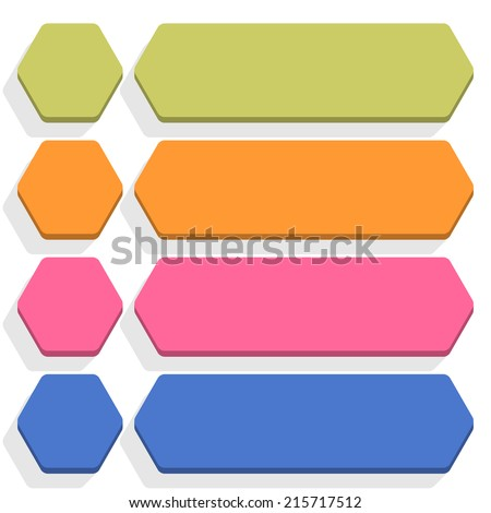 Empty hexagon and rounded rectangle icon with long gray shadow on white background in flat style. Set 04 green, orange, pink, cobalt colors button. Vector illustration web design element in 8 eps - stock vector