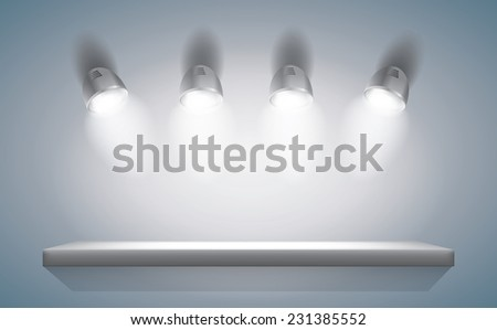 Empty Highlighted Shelf - stock vector