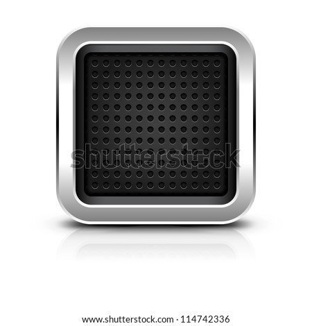 Empty icon with chrome metal frame. Rounded square button with dark perforation texture, black drop shadow and reflection on white background. Vector illustration clip-art design element in 10 eps - stock vector
