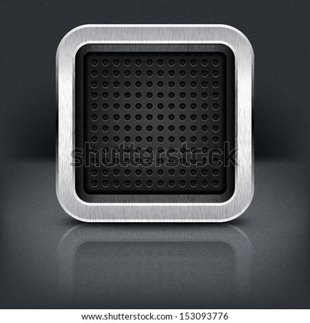 Empty icon with chrome metal frame. Rounded square button with perforation texture, black drop shadow and reflection on dark gray background. Vector illustration web design element in 10 eps - stock vector