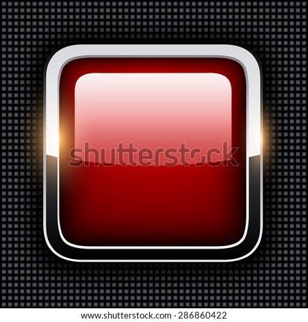 Empty icon with chrome metal frame, Rounded square red button with dots texture background, vector illustration. - stock vector