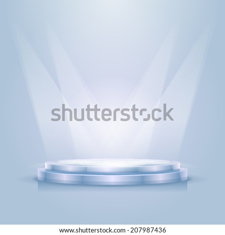 Empty illuminated podium shined with a projectors, eps10 illustration make transparent objects and opacity masks - stock vector
