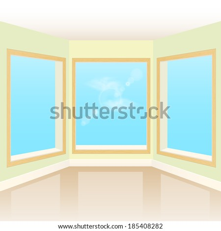 Empty interior room with three windows - stock vector