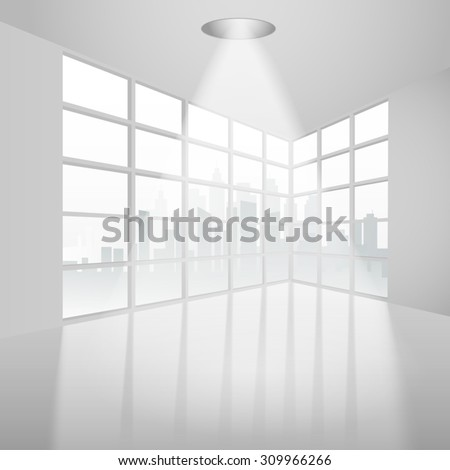 Empty interior with ceiling lamp overlooking the city. Vector illustration