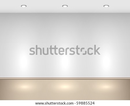 Empty interior with halogen lamps. - stock vector
