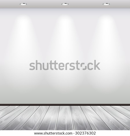 Empty interior with white wall and spotlights vector background - stock vector