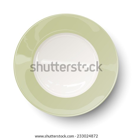 Empty light olive green plate with reflections isolated on white background - stock vector