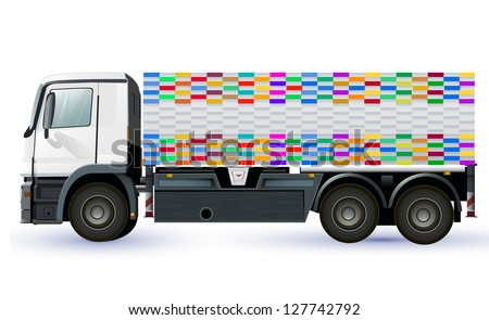 Empty lorry or truck design to place your company name or symbol. vector design - stock vector