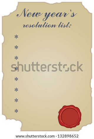 empty new years resolution list; vintage with empty red wax seal