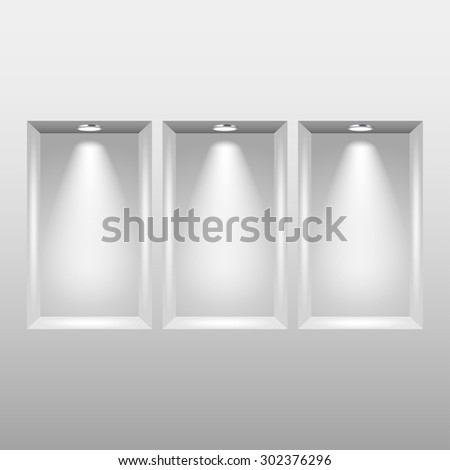 Empty niches in wall with spot lights photo realistic vector background - stock vector