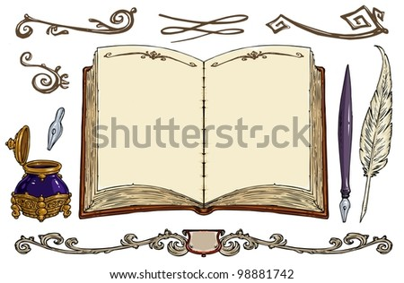 Empty Old Book, Old Writing Tools, Decorative Frames - Cartoon Vector Illustration - Clip art