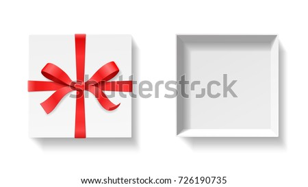 Empty open gift box red color 726190735 shutterstock empty open gift box with red color bow knot ribbon isolated on white background negle Gallery