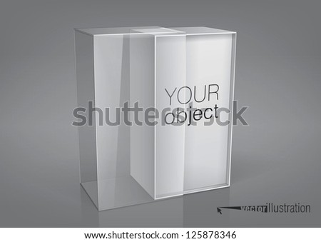 Empty opened packaging box with a transparent plastic window for new design. Eps10 vector, you can change colors. - stock vector