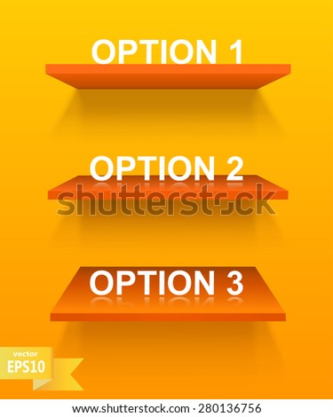 Empty orange shelf on a yellow background. The elements of your design. Vector illustration - stock vector