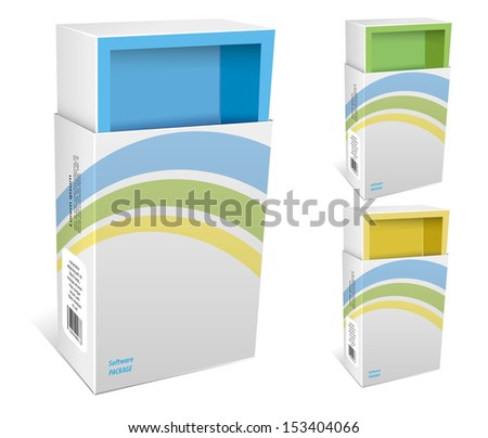 Empty package box mock-up. Vector illustration. - stock vector