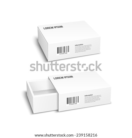 Empty package box. Two white packaging boxes closed and open. Vector illustration - stock vector