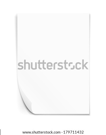 Empty paper sheet. A4 size.  Vector illustration on white background. - stock vector