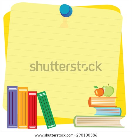 Empty paper sheet and lined notepad pages and book for attaching paper Vector EPS10 - stock vector