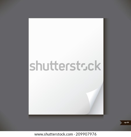 Empty paper sheet with place for your text.Vector illustration