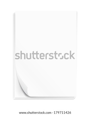 Empty paper three sheets. A4 size.  Vector illustration. - stock vector