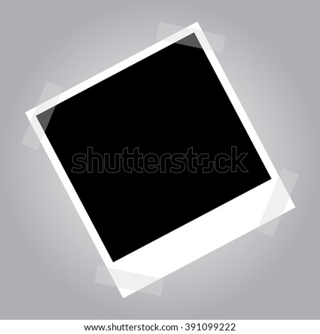 Empty photo frame on duct tape. Blank photo frame for your photo collage. Empty vector photo frame.   - stock vector