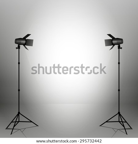 Empty photo studio with spotlights. Vector illustration. Grey backdrop.