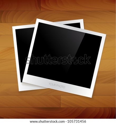 Empty photos vector illustration on a wooden background - stock vector