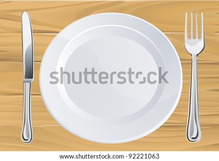 Empty plate and knife and fork cutlery place setting on rustic wooden table - stock vector