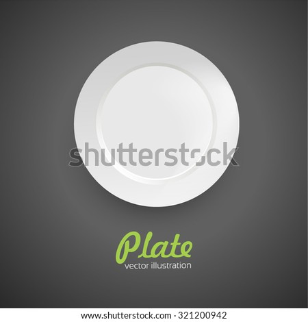 Empty plate. Isolated on white background. View from above - stock vector