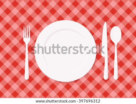 Empty plate on red checkered tablecloth - stock vector