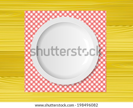 Empty plate on wooden tabletop with tablecloth - stock vector