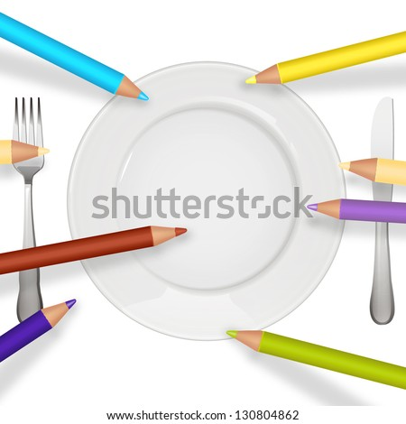 empty plate with color pencils to place your concept or menu - stock vector