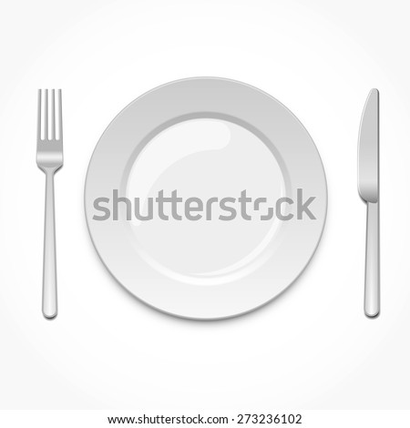 Empty plate with fork and knife - stock vector