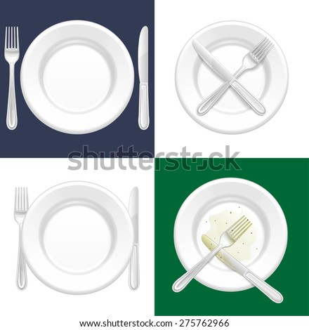Empty plate with fork and knife, Vector - stock vector