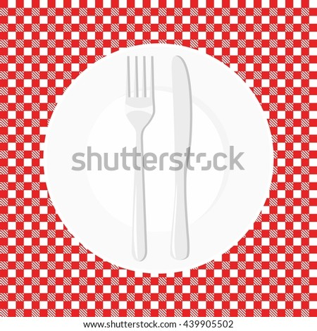Empty plate with knife and fork. Dish fork and knife on a red tablecloth in a cage - stock vector