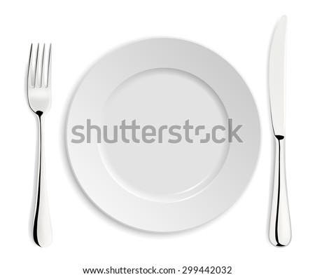Empty plate with knife and fork isolated on white. Vector EPS10 illustration.  - stock vector