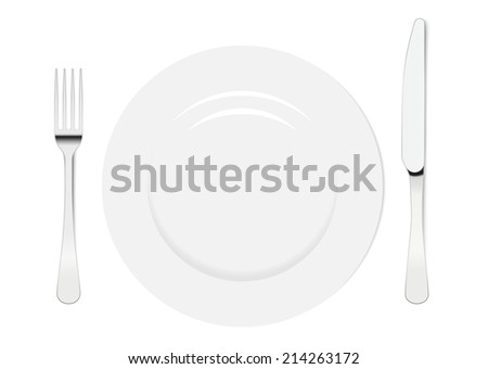 Empty plate with knife and fork on a white background.  - stock vector