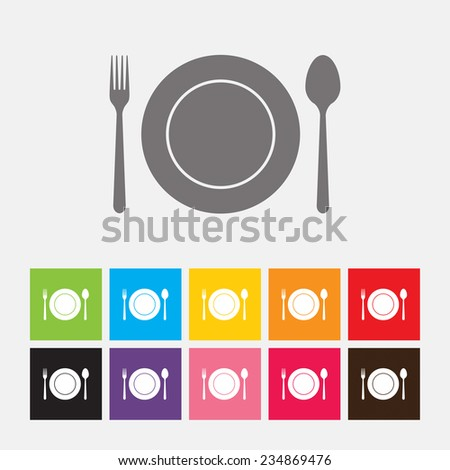 Empty plate with spoon, fork - Vector - stock vector