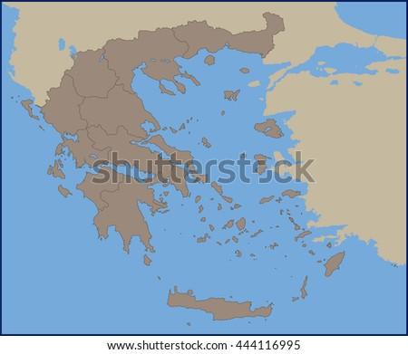Empty political map greece stock vector 444116995 shutterstock empty political map of greece gumiabroncs Gallery