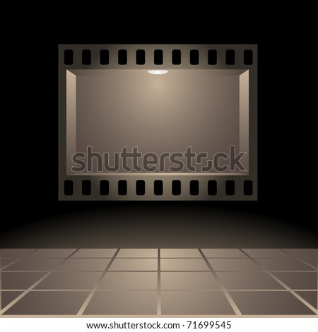 Empty publicity board with illumination made in the form of a photographic shot against a dark background - stock vector