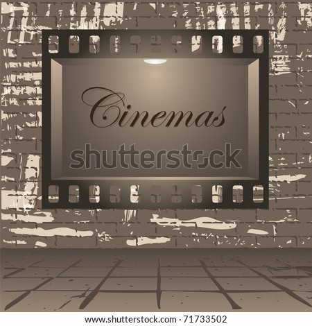 Empty publicity board with illumination made in the form of a photographic shot against a gray wall - stock vector