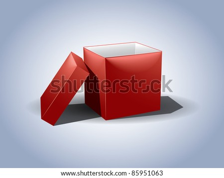 Empty red gift box with the lid off - stock vector
