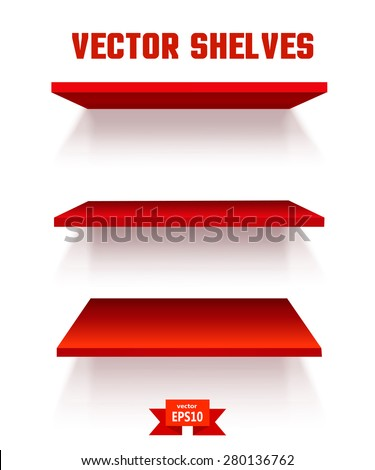 Empty red shelf on a white background. The elements of your design. Vector illustration - stock vector
