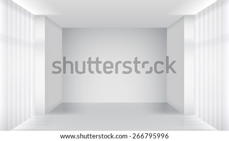 Empty room interior. Clear building, apartment white, architecture inside. Vector illustration