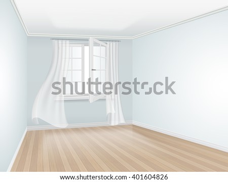 Empty room with blue wall and open window. Window decorated with transparent curtains. Vector interior perspective. Interior with blue wall.  - stock vector